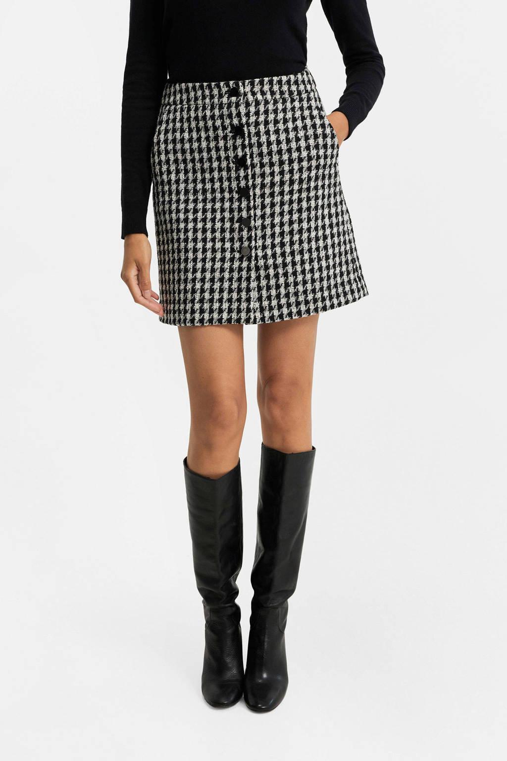 WE Fashion rok met pied-de-poule zwart/wit, Zwart/wit