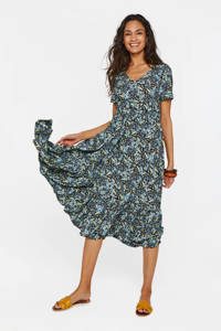 WE Fashion maxi jurk met all over print blauw, Blauw