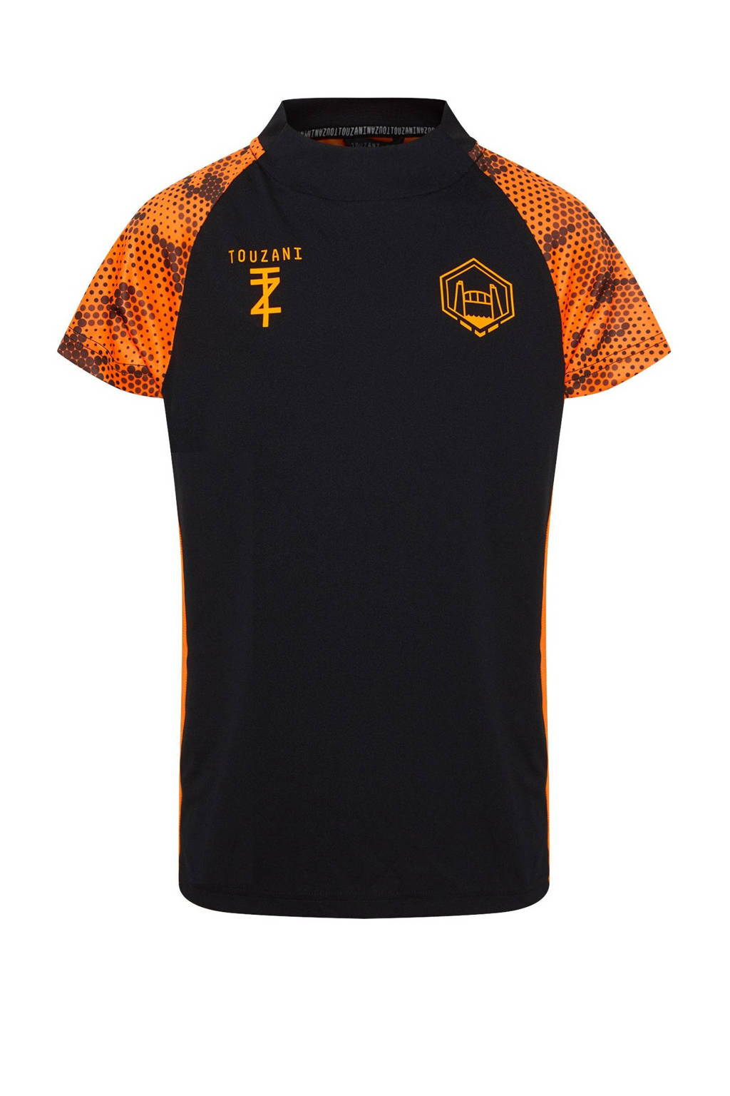 WE Fashion   X Touzani voetbal T-shirt zwart/oranje, Zwart/oranje