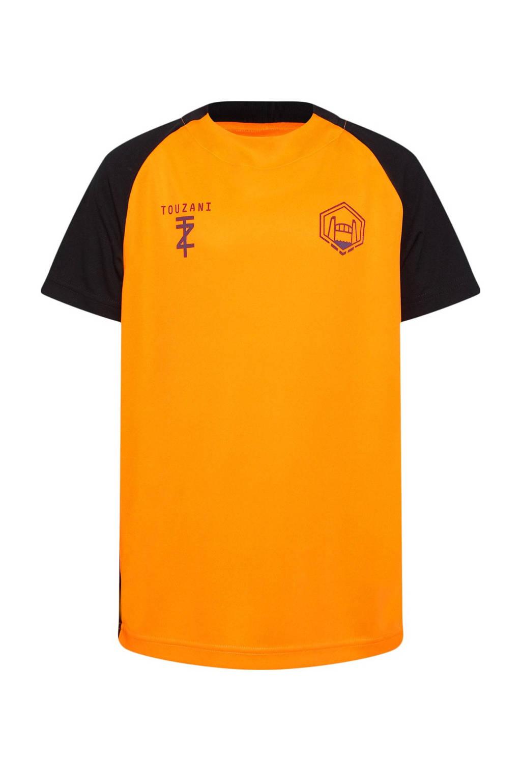 WE Fashion   X Touzani voetbal T-shirt oranje/zwart, Oranje/zwart