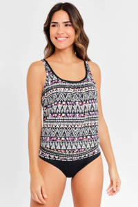 Lascana tankini bikinitop met all over print zwart/creme, Zwart/creme