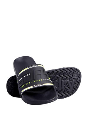 City Neon Pool Slide  badslippers zwart/wit/limegroen