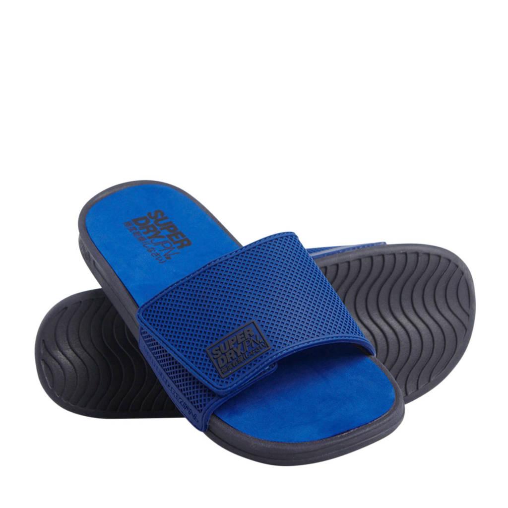 Superdry Sport Premium Crewe Velcro Slide  badslippers kobaltblauw/zwart, Blauw