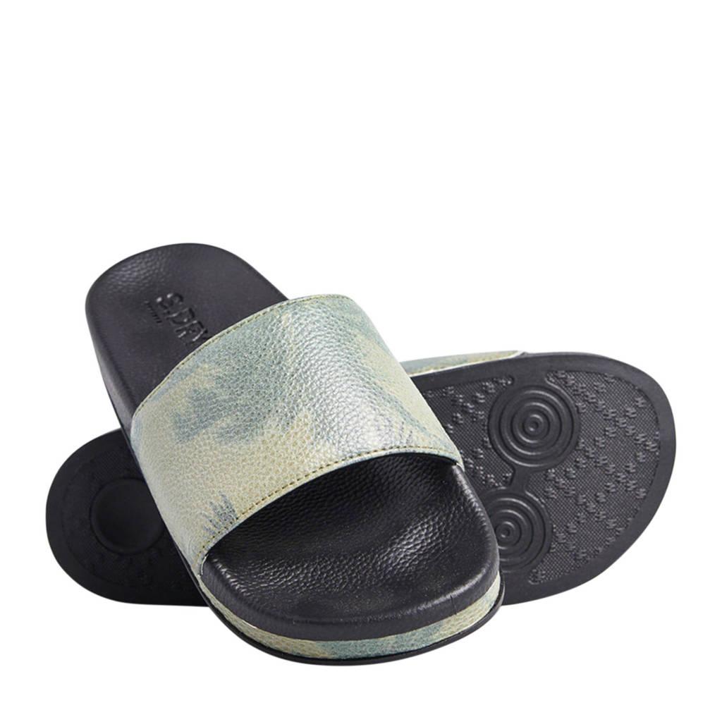 Superdry Sport Arizona Flatform Slide  badslippers groen/zwart, Gren/zwart