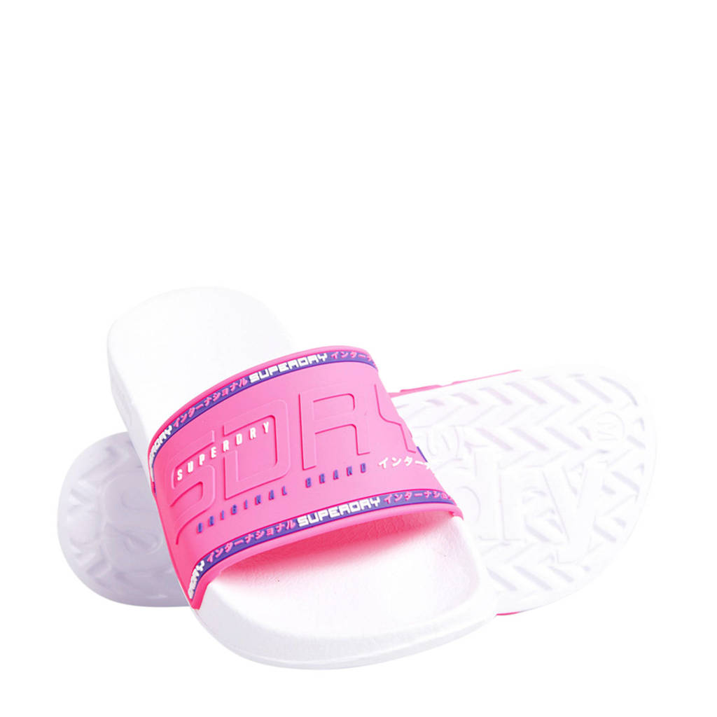 Superdry Sport City Neon Pool Slide  badslippers roze/wit/paars, Roze/wit/paars