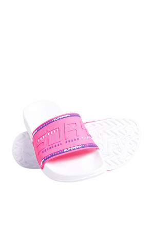 City Neon Pool Slide  badslippers roze/wit/paars