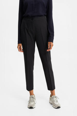 geruite cropped tapered fit pantalon donkerblauw