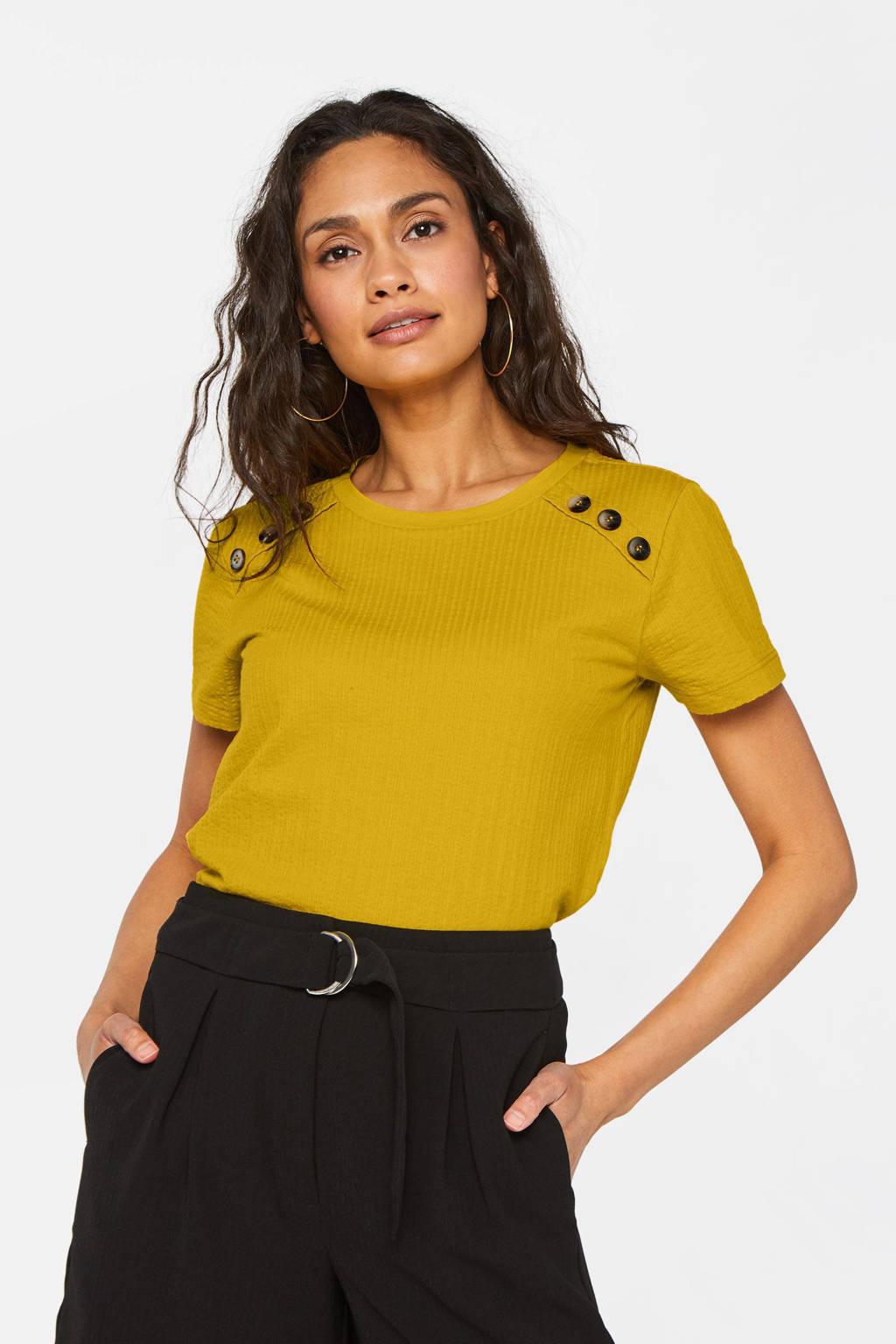 WE Fashion T-shirt met textuur okergeel, Okergeel