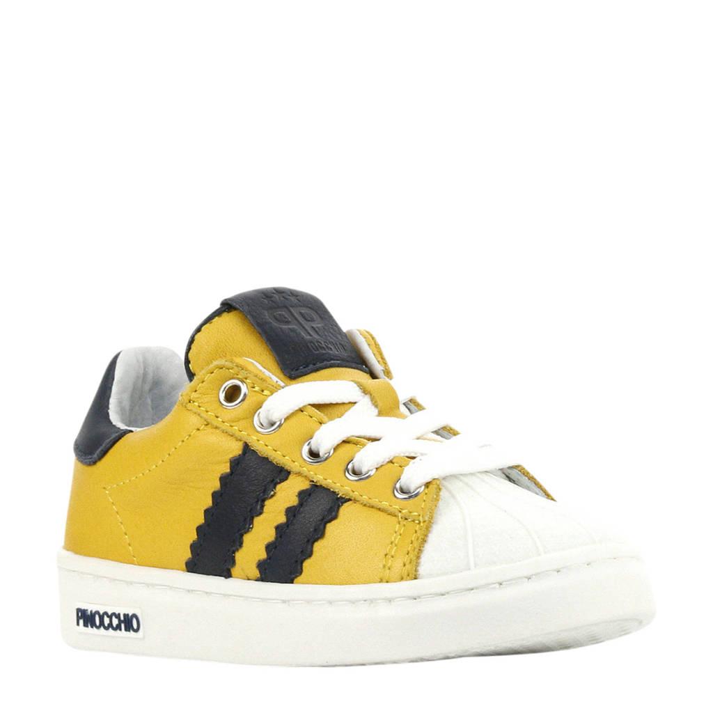 Pinocchio P1834  leren sneakers okergeel, Geel/blauw