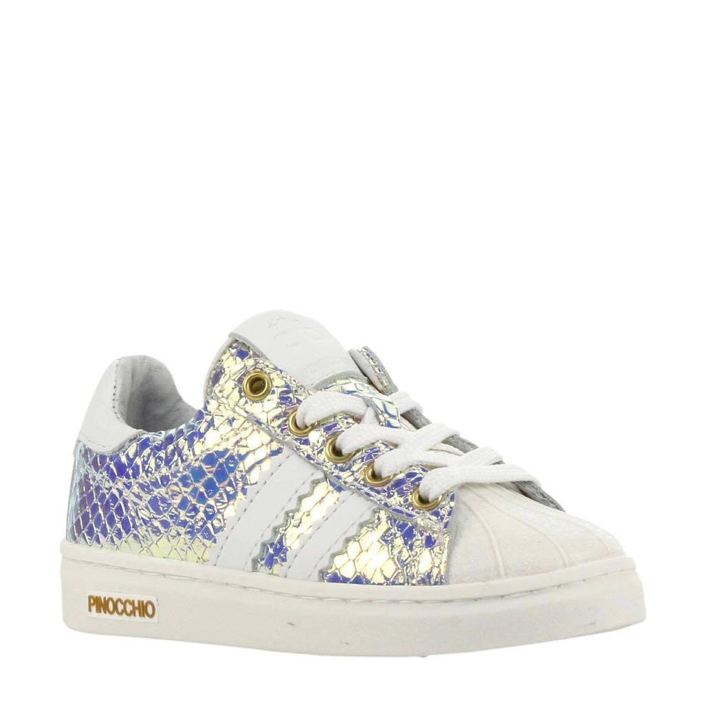 Pinocchio P1834  leren sneakers wit/metallic