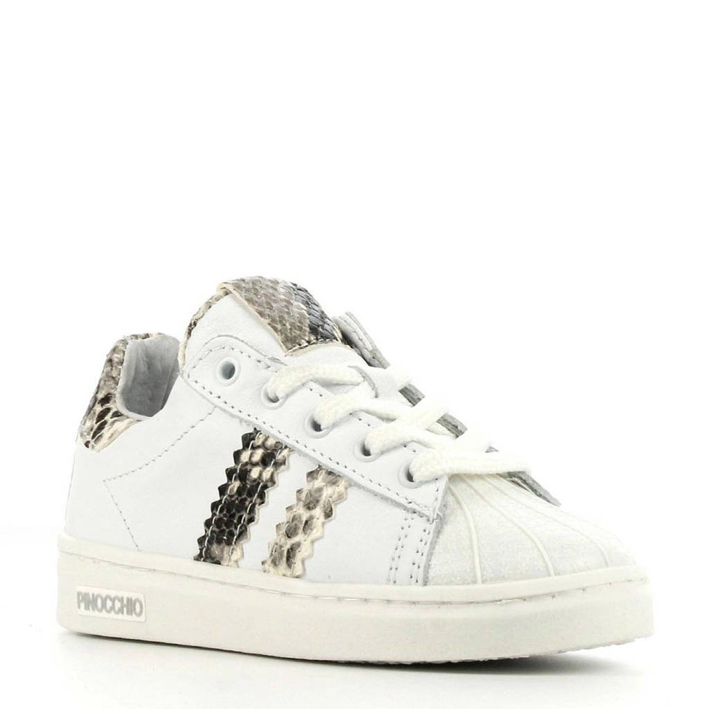 Pinocchio P1834  leren sneakers wit/slangenprint, Wit/multi