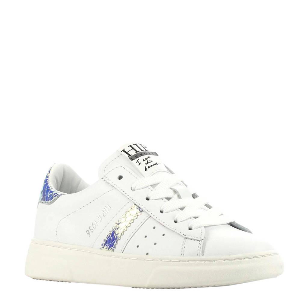 Hip H1272  leren sneakers wit/metallic