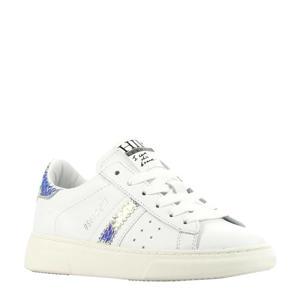 H1272  leren sneakers wit/metallic