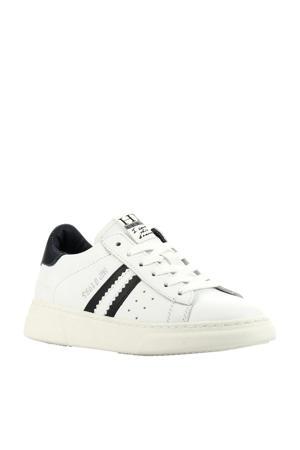 H1272  leren sneakers wit/blauw