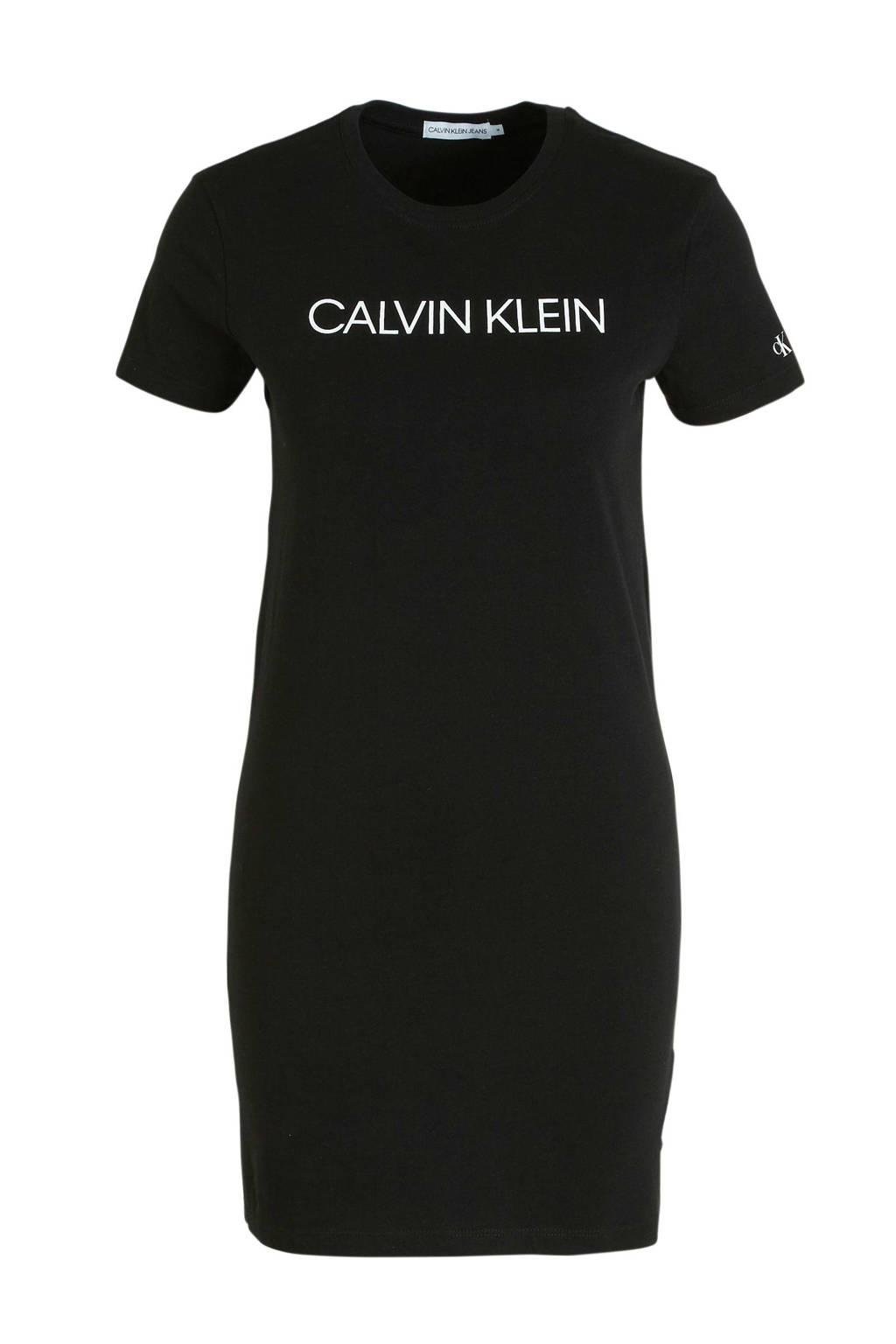 CALVIN KLEIN JEANS T-shirtjurk van biologisch katoen zwart/wit, Zwart/wit
