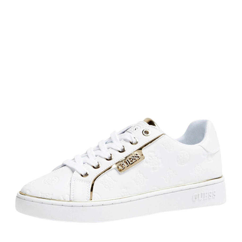 GUESS Banq  sneakers wit, Wit/goud