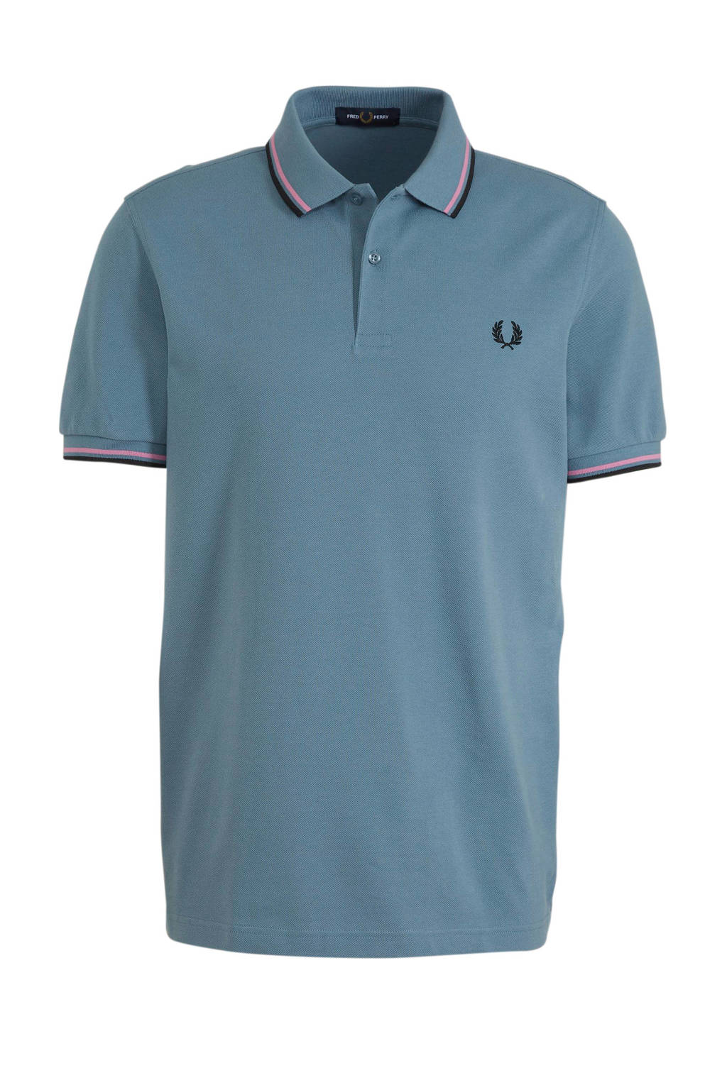 Fred Perry gemêleerde regular fit polo blauw/rood, Blauw/rood