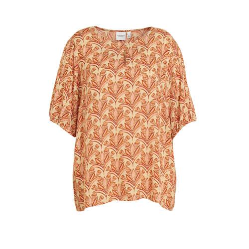 JUNAROSE blouse met all over print oranej