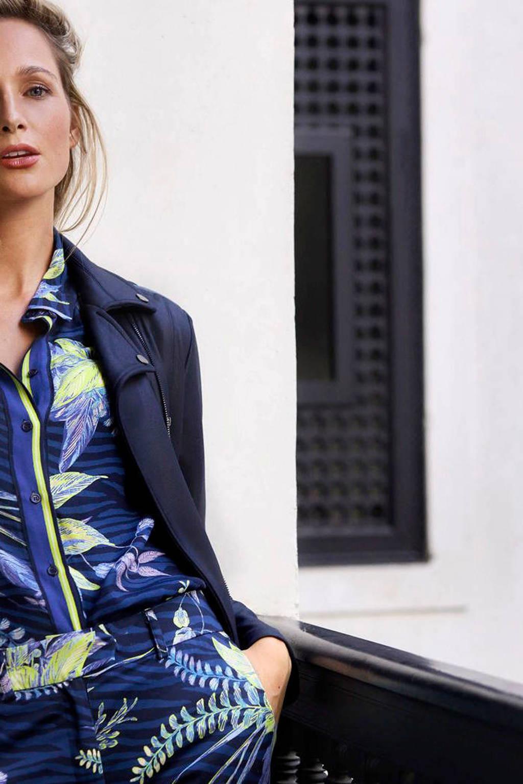 Tramontana gebloemde blouse donkerblauw/geel, Donkerblauw/geel
