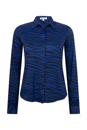 blouse met zebraprint donkerblauw