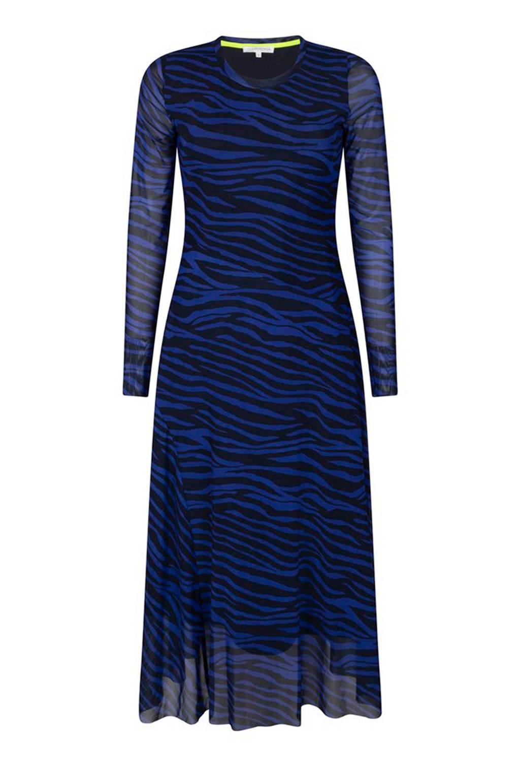 Tramontana jurk met zebraprint donkerblauw, Donkerblauw