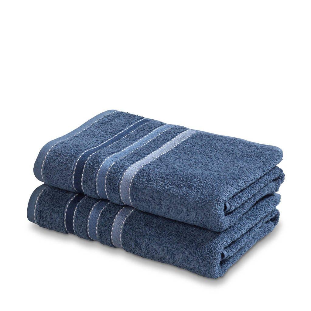 Vandyck handdoek (set van 2) (110x60 cm), Vintage blauw