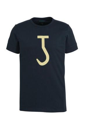 T-shirt met printopdruk donkerblauw/geel