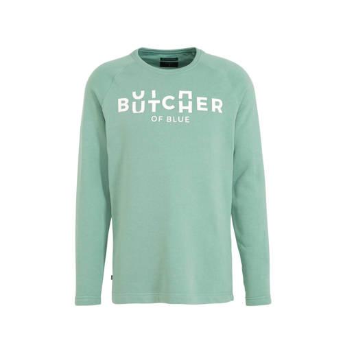 Butcher of Blue sweater met printopdruk groen