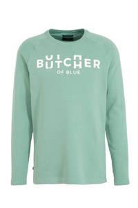 Butcher of Blue sweater met printopdruk groen, Delphi Green