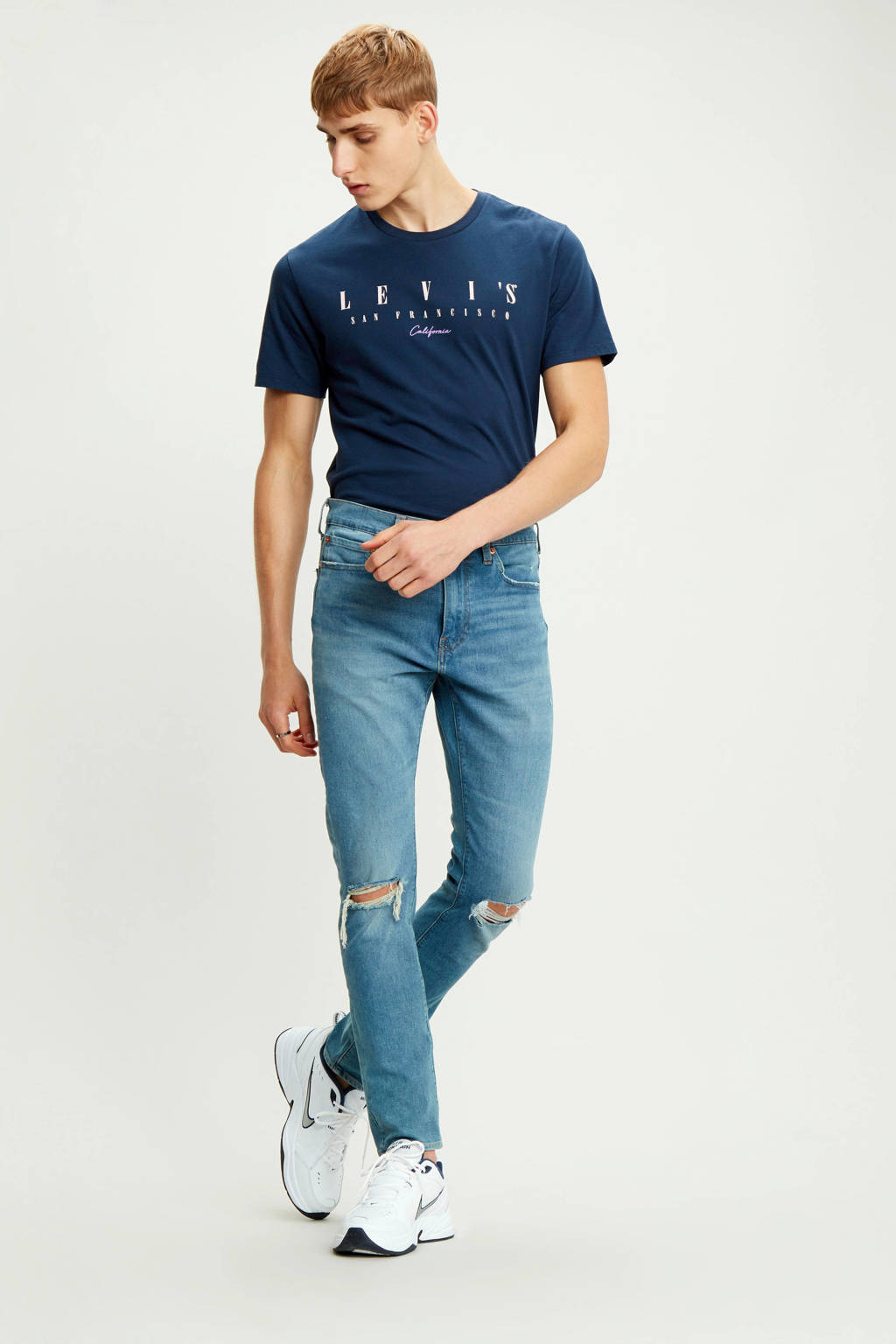 Levi's T-shirt met tekst donkerblauw, Donkerblauw
