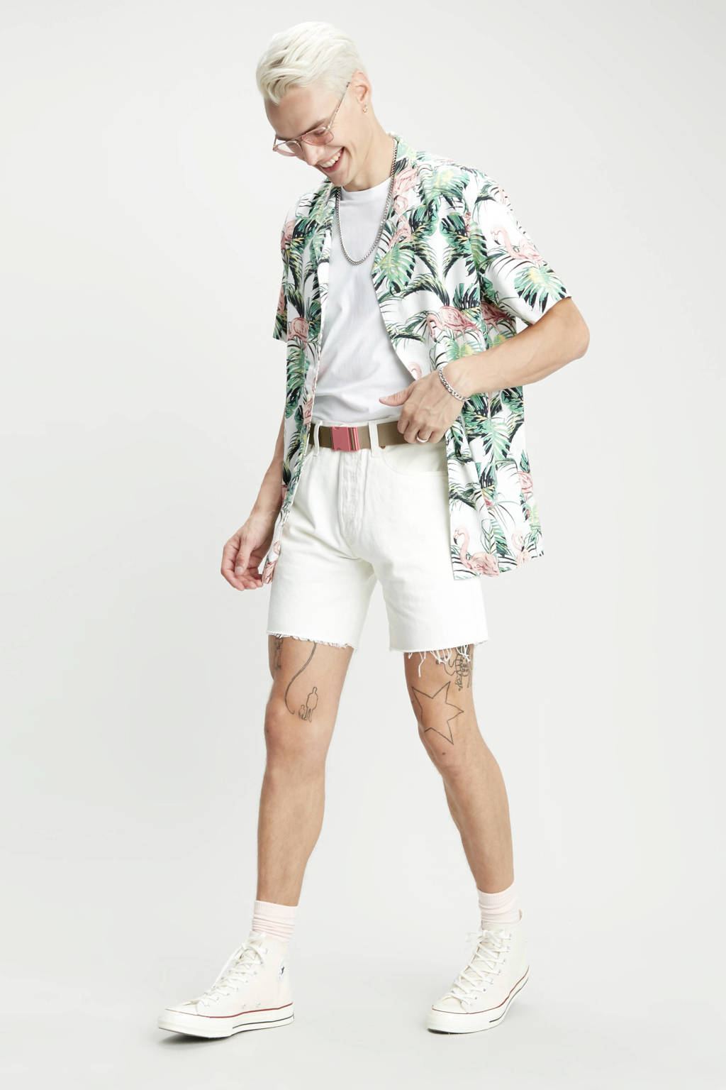 Levi's regular fit overhemd met dierenprint groen/wit/roze, Groen/wit/roze