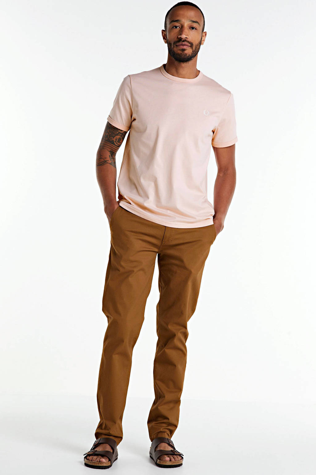 Fred Perry T-shirt lichtroze, Lichtroze