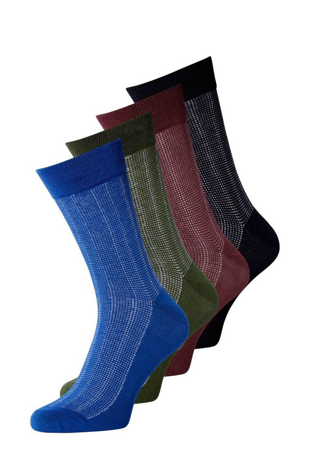 JACK & JONES sokken set van 4 zwart, Zwart/multi