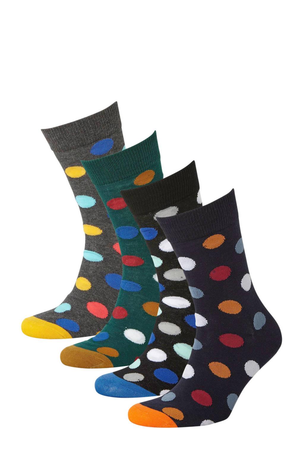 JACK & JONES sokken set van 4 paar, Grijs/multi