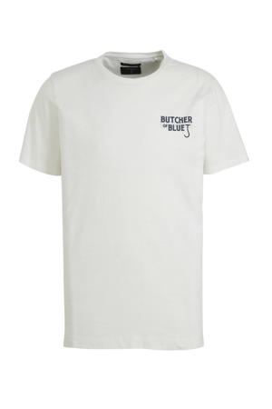 T-shirt met printopdruk wit/blauw