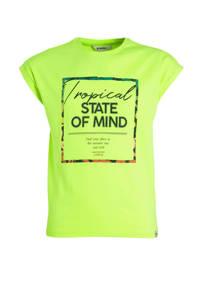 Garcia T-shirt met printopdruk neon geel, Neon geel