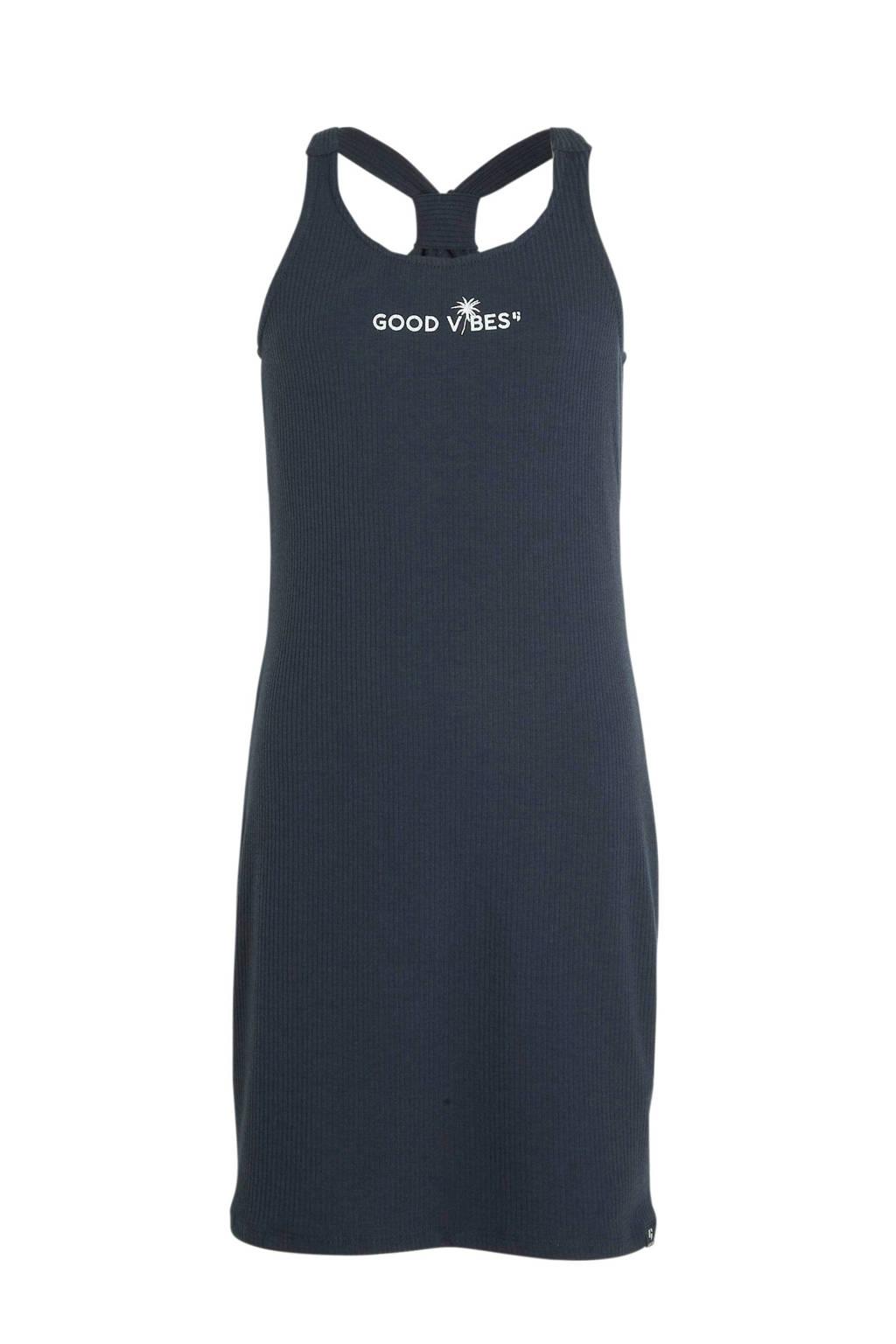 Garcia jersey jurk met tekst donkerblauw, Donkerblauw