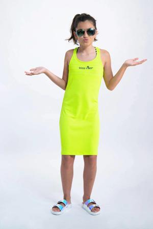 jersey jurk met tekst neon geel
