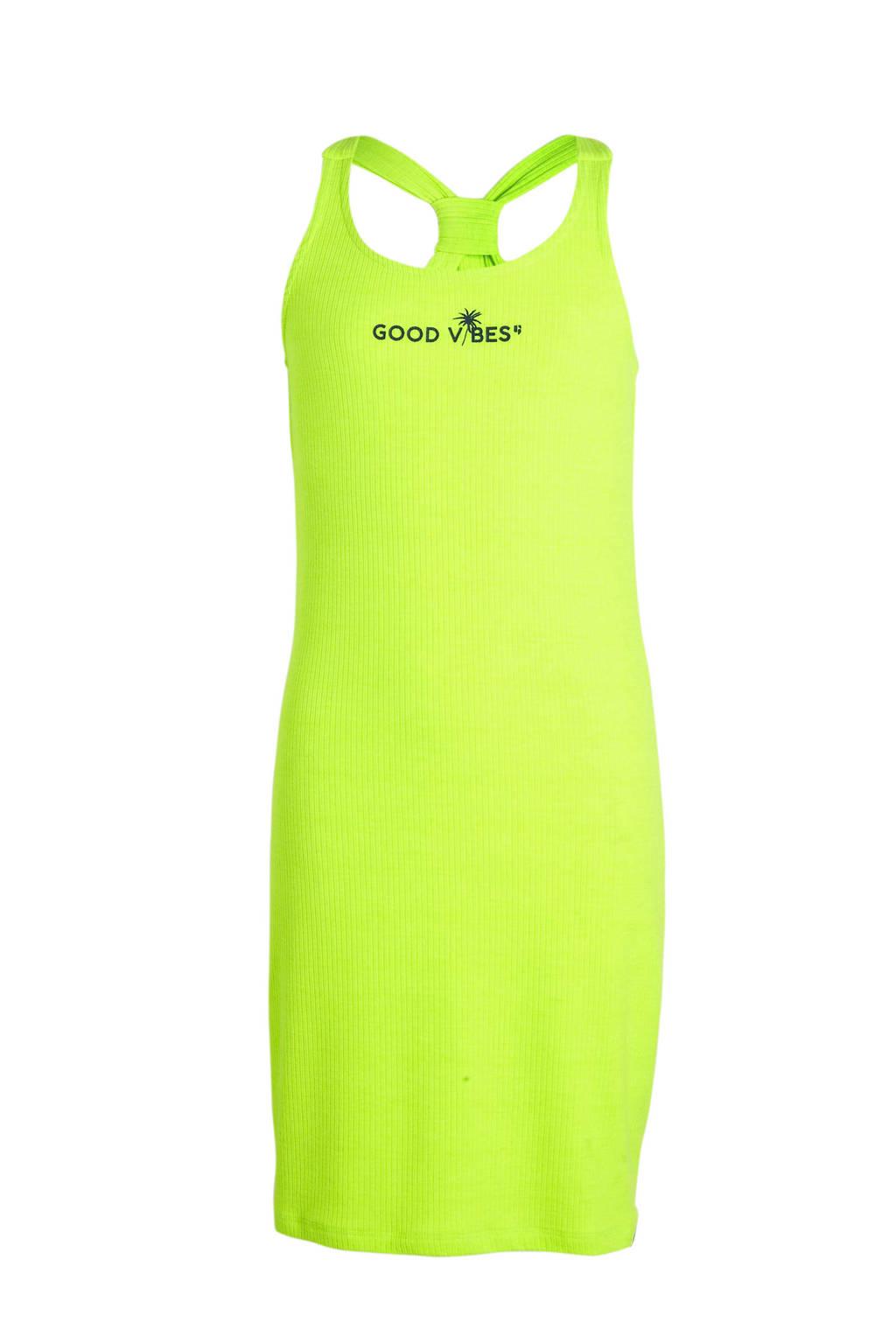 Garcia jersey jurk met tekst neon geel, Neon geel