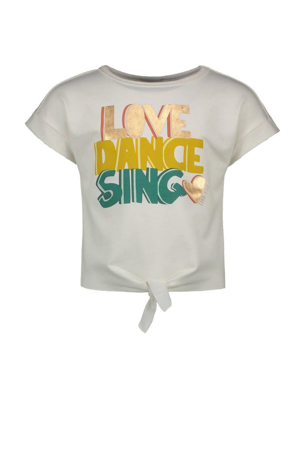 Like Flo T-shirt met printopdruk wit/geel/groen, Wit/geel/groen