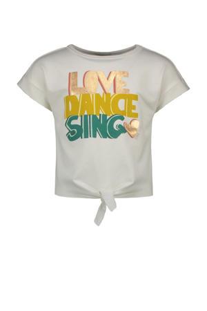 T-shirt met printopdruk wit/geel/groen