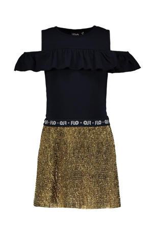 open shoulder jurk met glitters marine/goud
