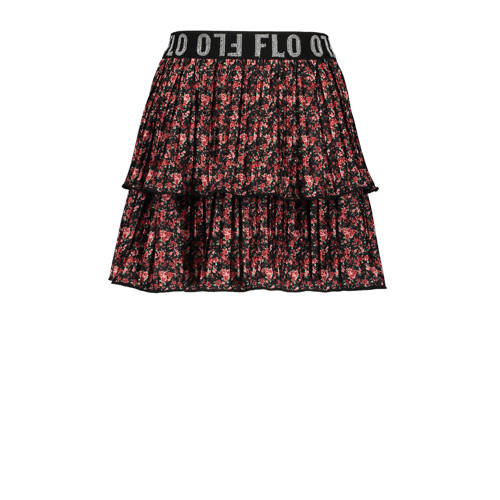 Like Flo gebloemde rok zwart/rood