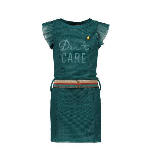 Like Flo jersey jurk met tekst en ceintuur zeegroe