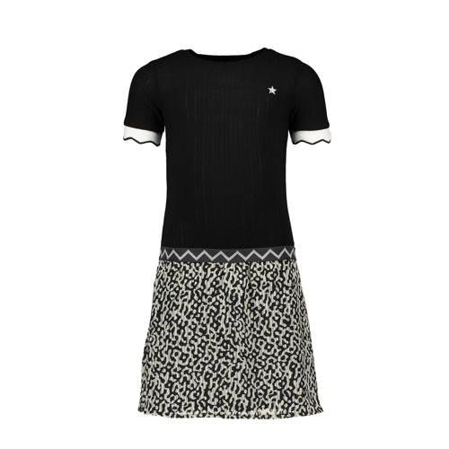 Like Flo jersey jurk met dierenprint zwart/grijs