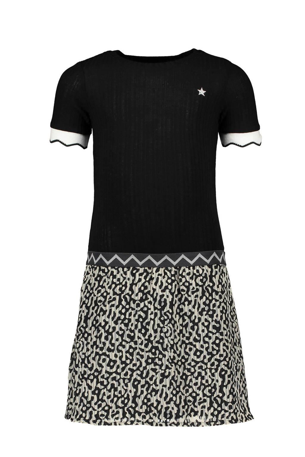 Like Flo jersey jurk met dierenprint zwart/grijs, Zwart/grijs