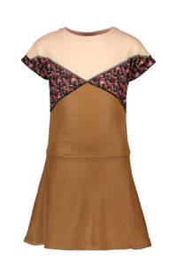 Like Flo A-lijn jurk camel/roze/rood, Camel/roze/rood
