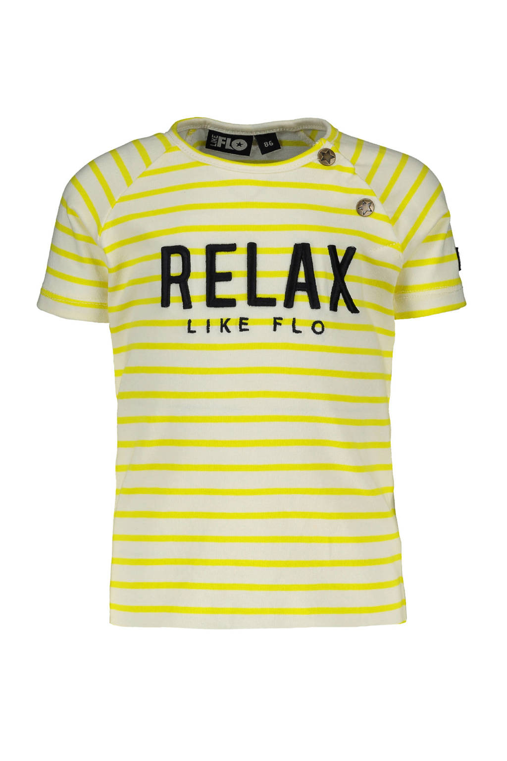 Like Flo baby T-shirt met tekst geel/wit, Geel/wit