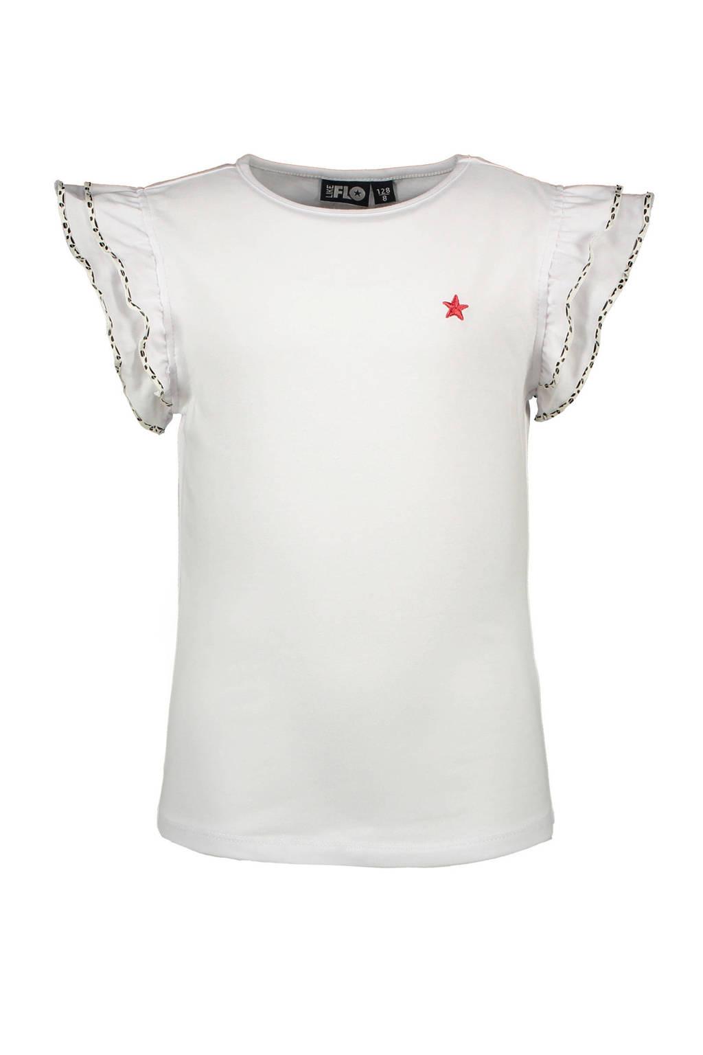 Like Flo T-shirt en borduursels wit, Wit