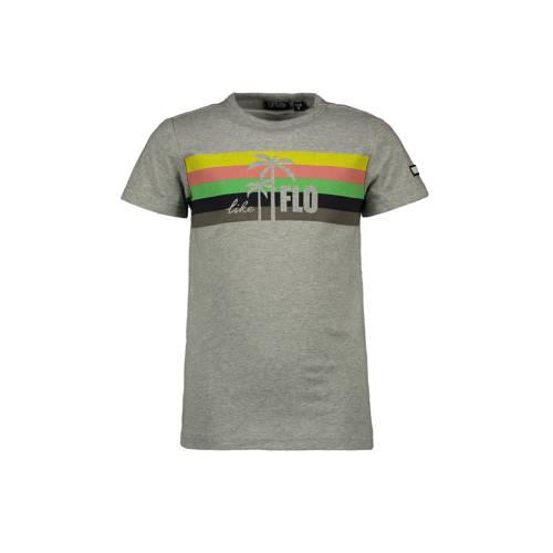 Like Flo T-shirt met printopdruk grijs melange/mul